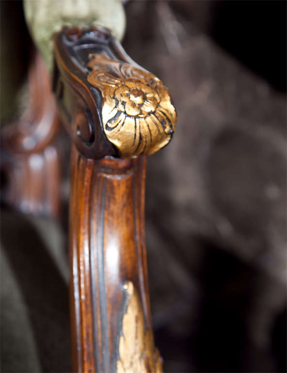 Pair of Walnut Carved Armchairs image 9