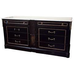 Maison Jansen Marble Top Ebonized Dresser