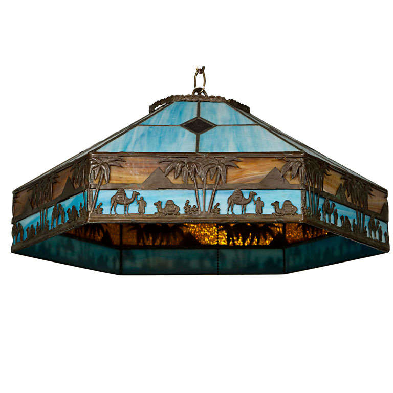 Stained Glass Hanging Light At 1stdibs