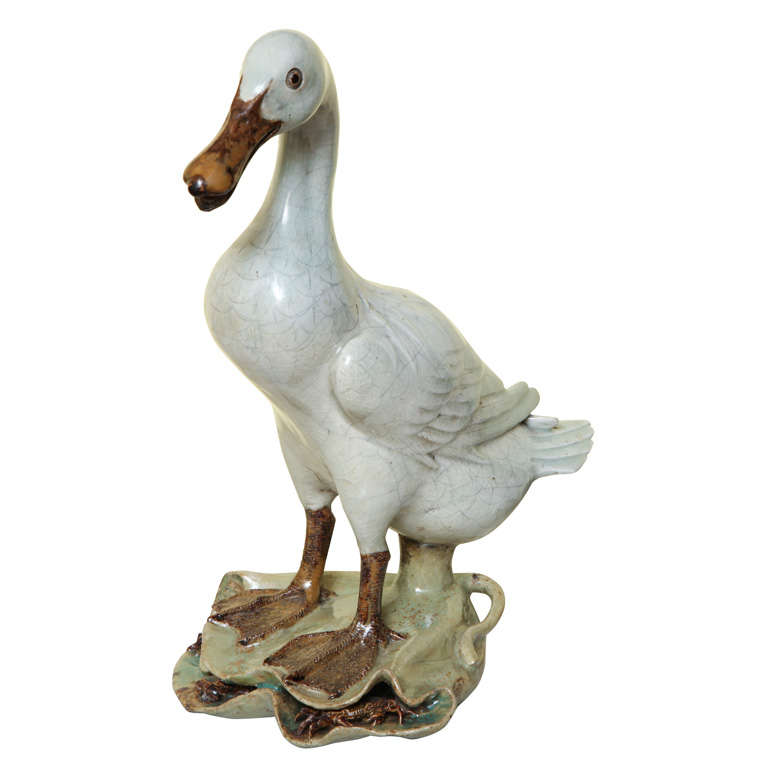 Antique Chinese celadon glazed stoneware duck, 19th century For Sale