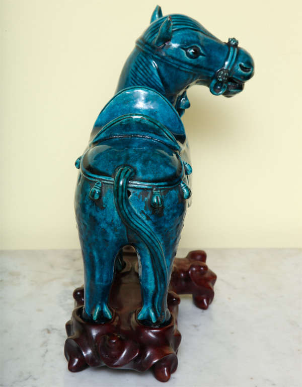 Chinese Turqoise Glazed Porcelain Horse on Custom Stand, circa 1900 In Excellent Condition For Sale In New York, NY