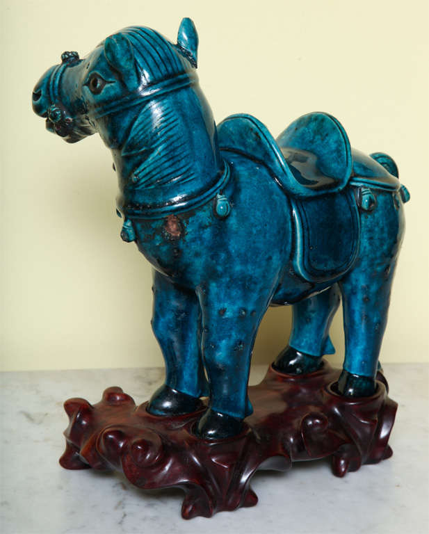 Chinese Turqoise Glazed Porcelain Horse on Custom Stand, circa 1900 For Sale 1