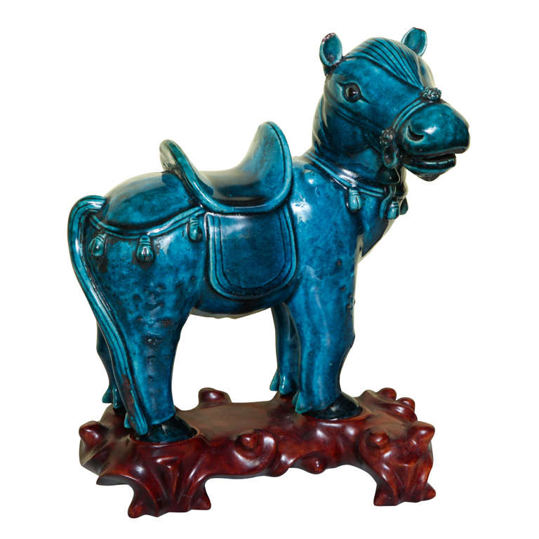 Chinese Turqoise Glazed Porcelain Horse on Custom Stand, circa 1900 For Sale