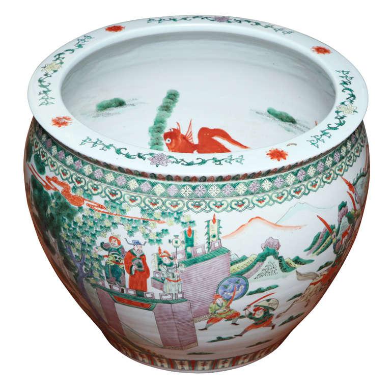 Chinese Famille Verte Porcelain Fishbowl 20th Century For