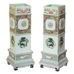 Pair of Tall Porcelain Famille Verte Vases on Stands, circa 1850
