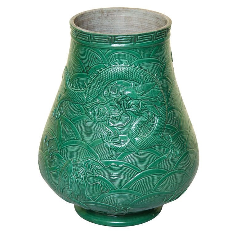 Antique Chinese Molded And Green Glazed Porcelain Vase For Sale At