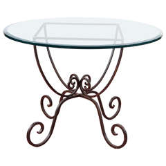 Iron and Glass Round Garden Table
