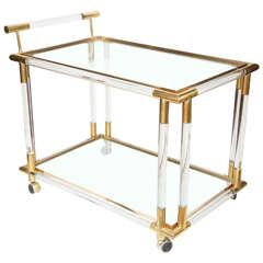 Lucite, Brass and Glass Bar/Tea Cart