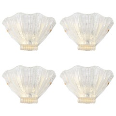 Barovier Gold Fleck Shell Form Glass Sconces