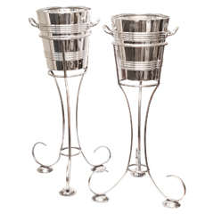 Art Deco Pair of Large Silver-Plated Standing Ice Buckets by Walker & Hall