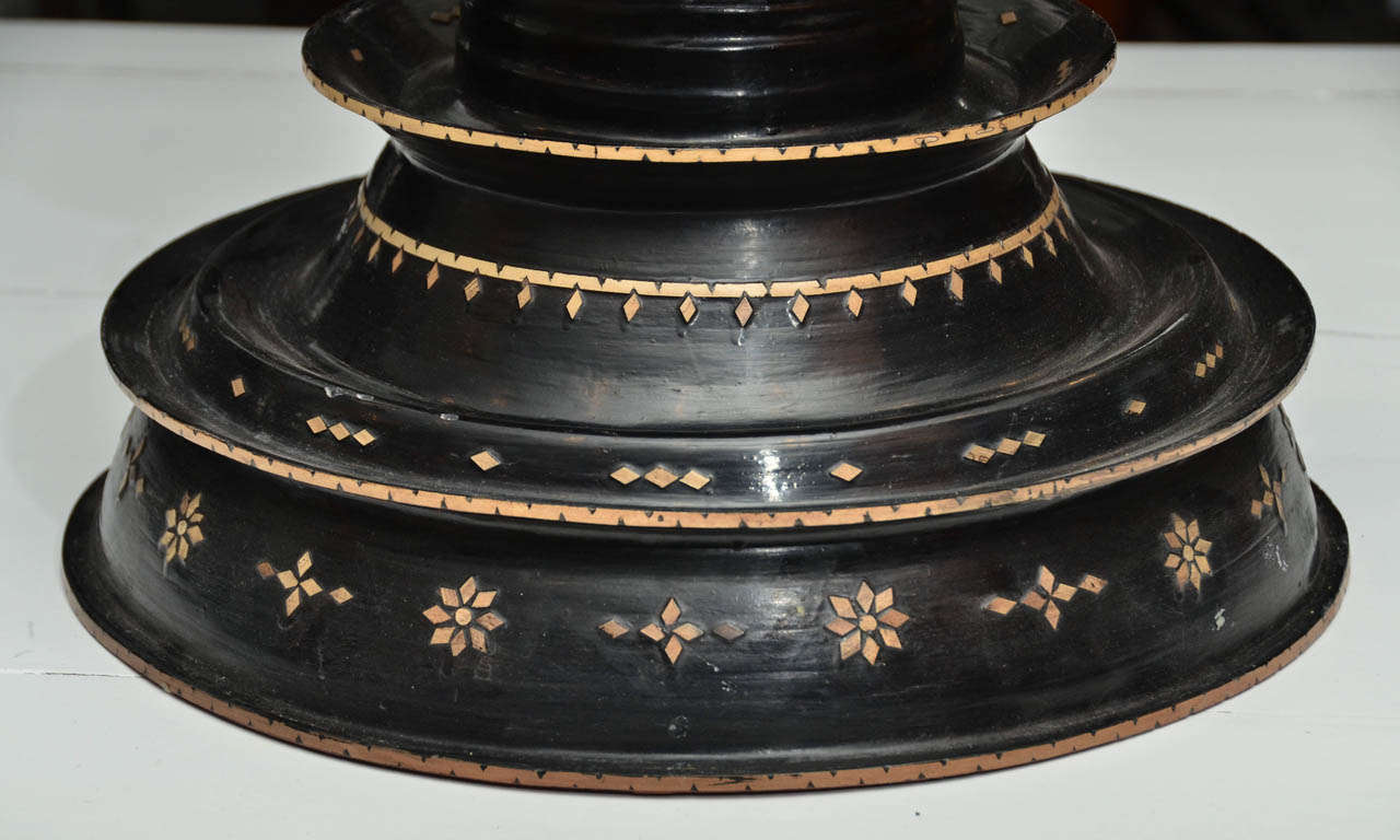Late 19th century Black Lacquered Hsun Inlaid Lidded Offering, probably Burmese 8