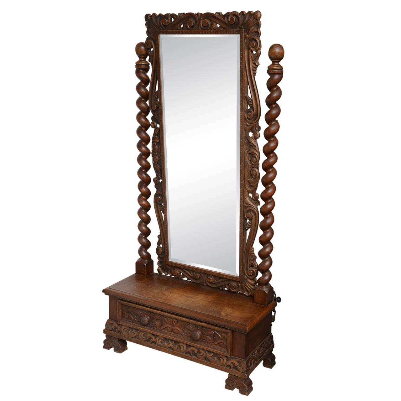 English Cheval Dressing Mirror With Single Drawer Hand