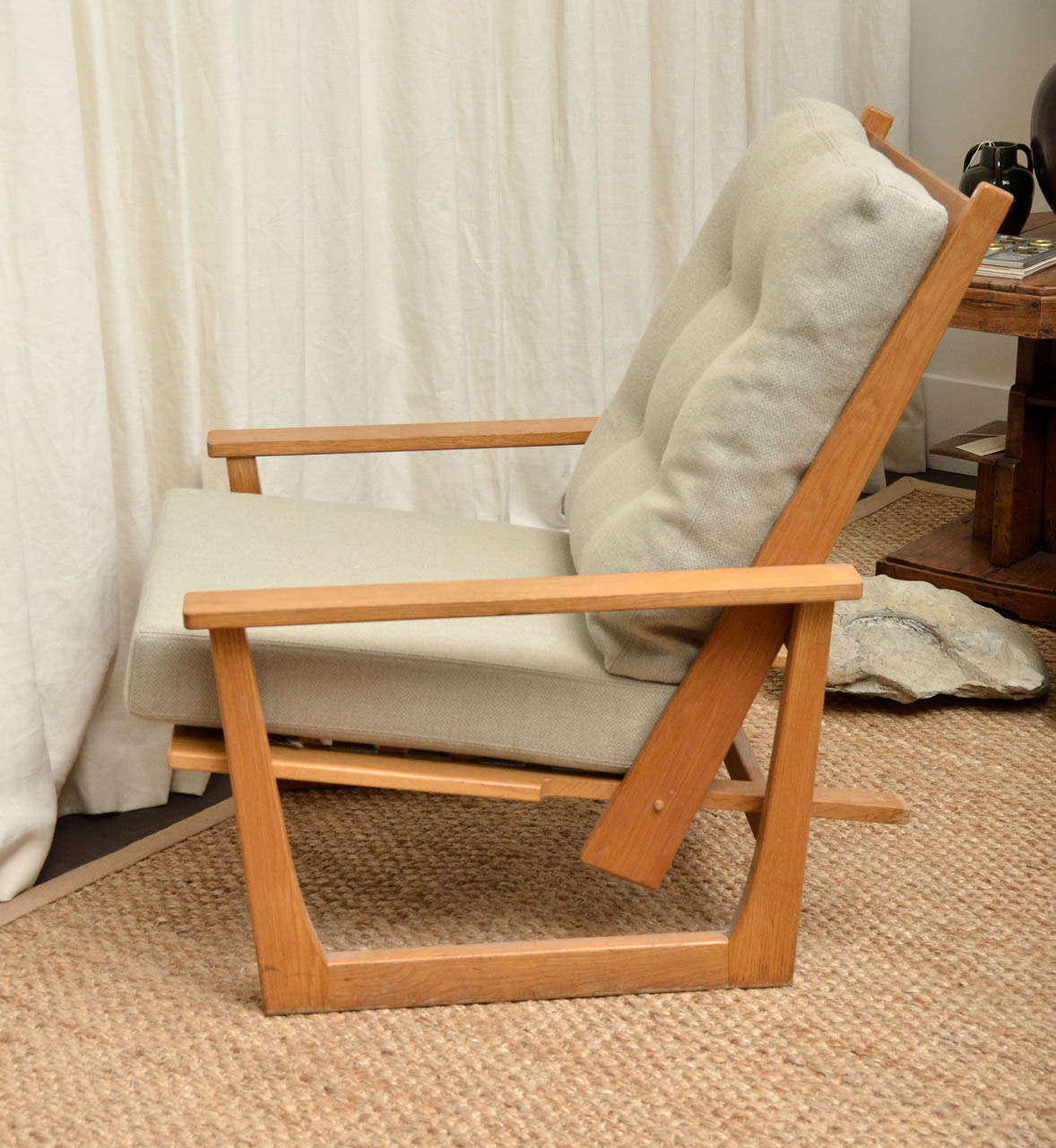 Reclining Wooden Lounge Chair For Sale 1