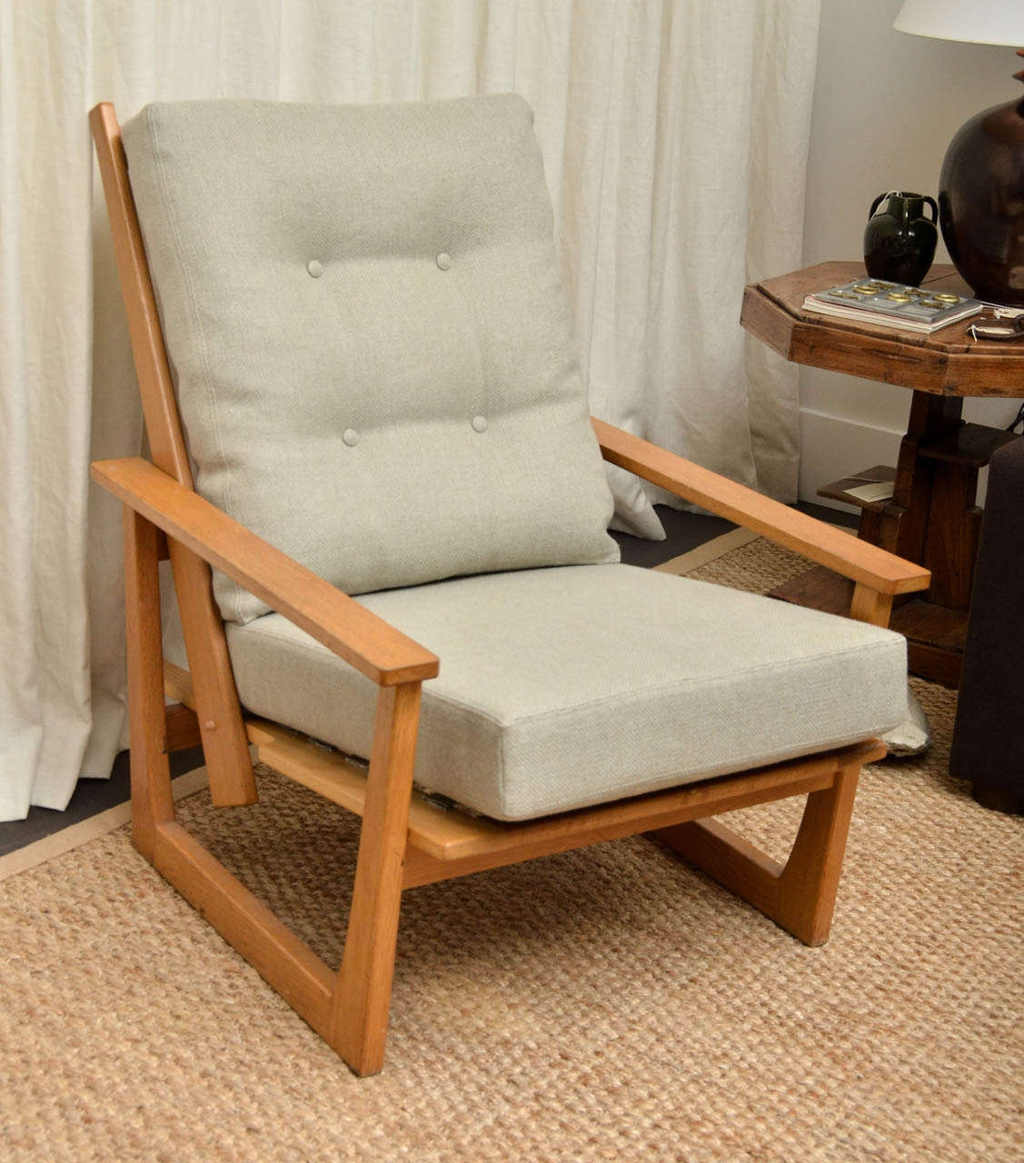 Nice Reclining Wooden Lounge Chair With Spindle Back, Newly Upholstered In  Natural + Pale Blue Woven