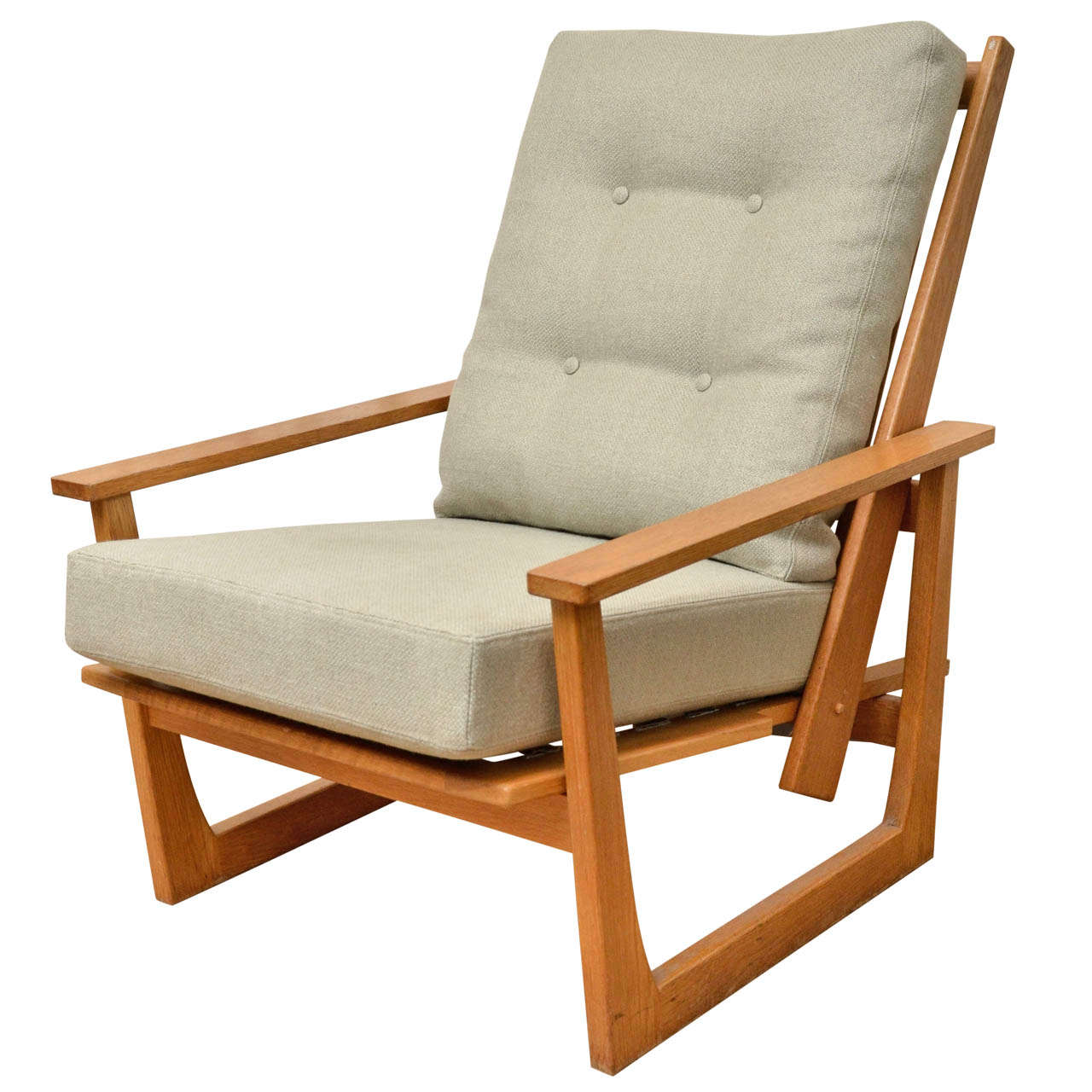 Charmant Reclining Wooden Lounge Chair For Sale