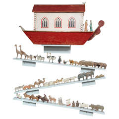 Large Turn of the Century Carved and Painted Noah's Ark