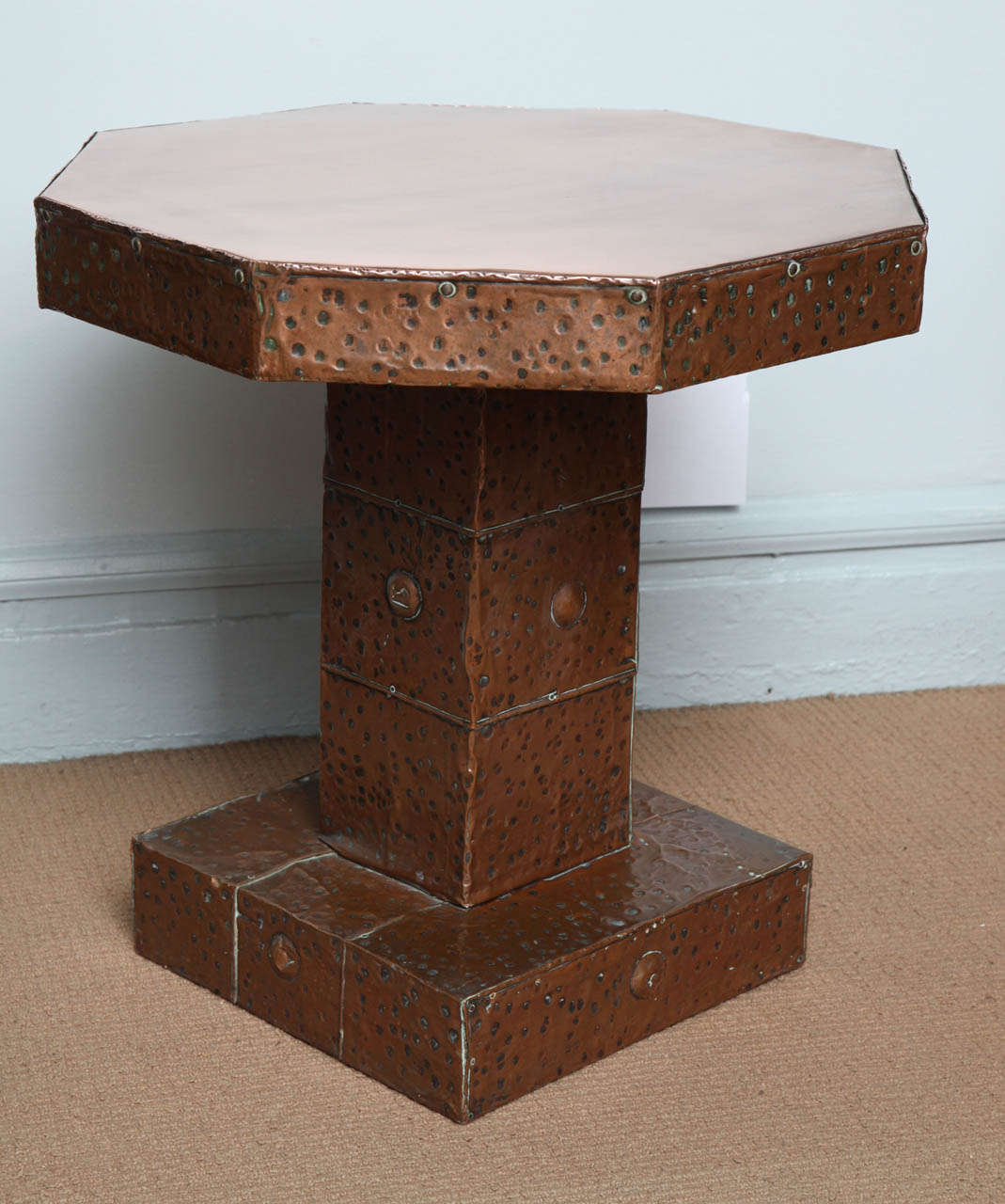 English Arts And Crafts Hammered Copper Octagonal Table At 1stdibs