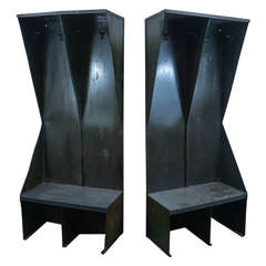 Pair of Bold Metal Benches with Hooks