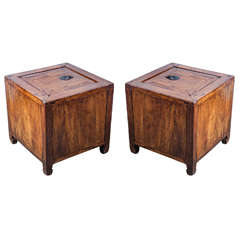 Pair of Elmwood Lidded Storage Boxes or End Tables