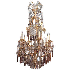 Antique French Napoleon III, Multi-Color Baccarat and Ormolu Chandelier