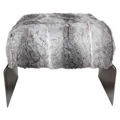 Luxe Modernist Bench in Lapin Fur and Black Nickel