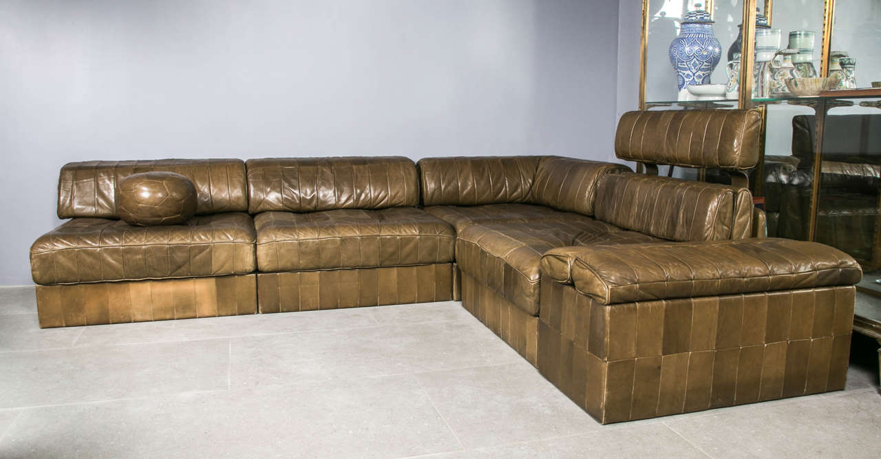 De Sede Ds88 Modular Sofa For Original Brown Leather Patchwork Upholstery Rare Color Very Good Vintage Condition Four Elements