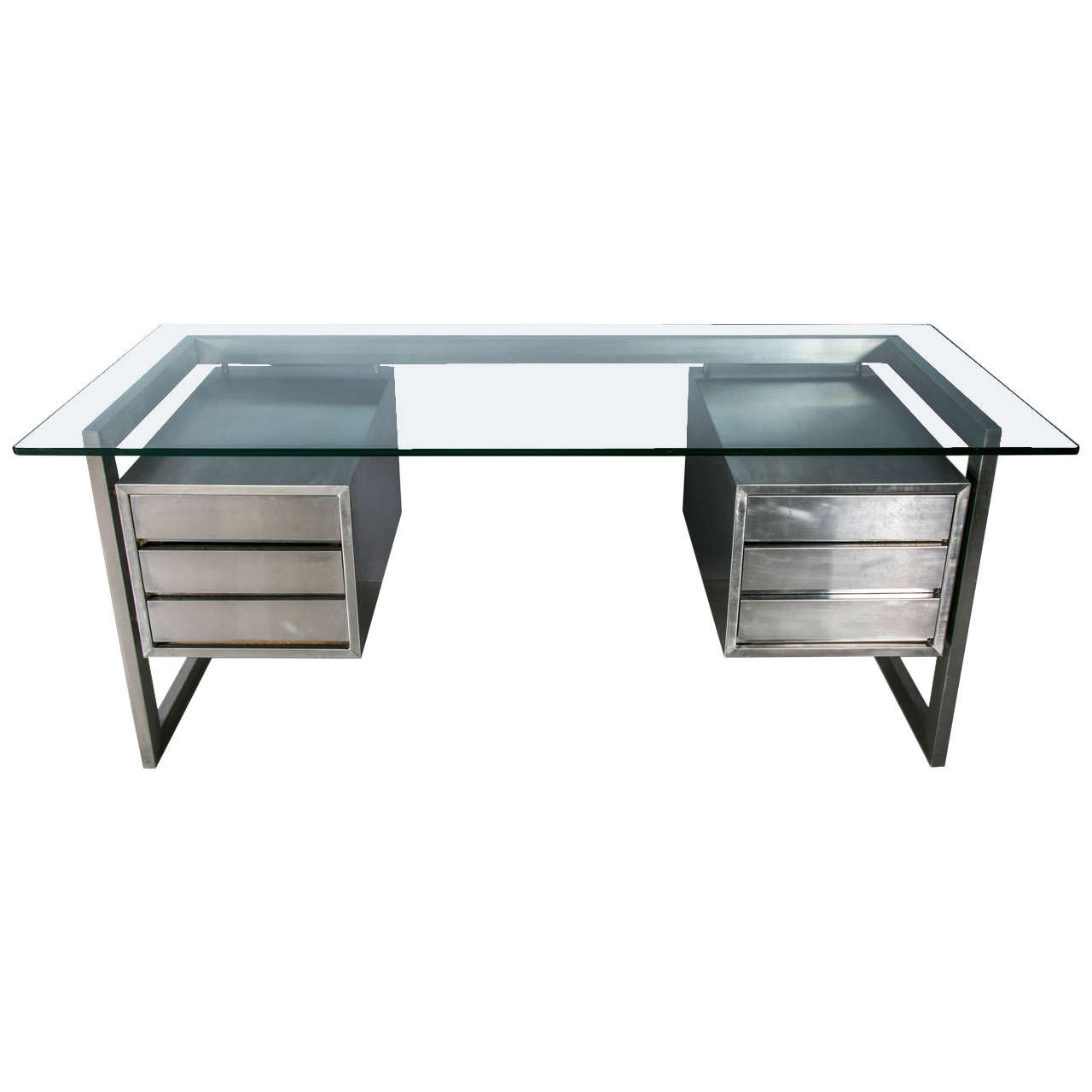 french stainless steel desk at stdibs -  french stainless steel desk