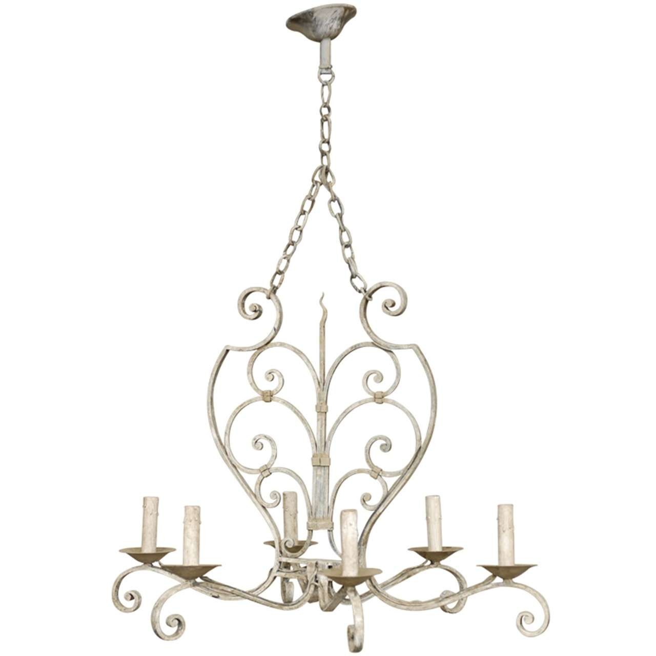French Six-Light Grey Blue Painted Iron Chandelier with Scroll Motifs
