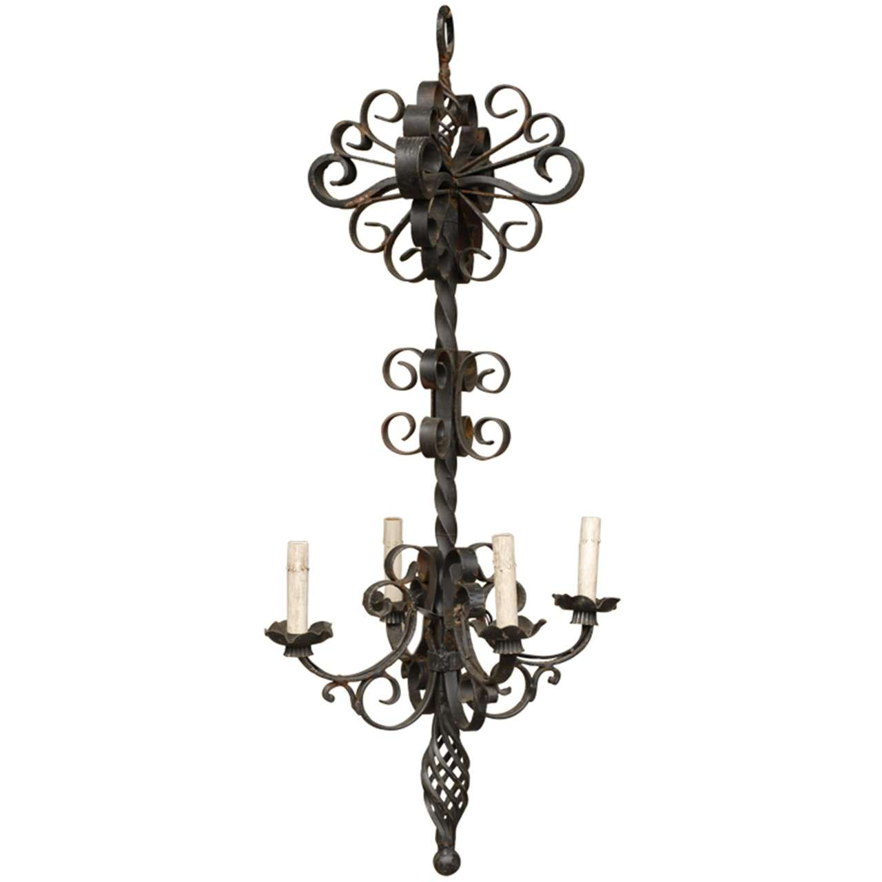 French Vintage Four-Light Forged Iron Chandelier