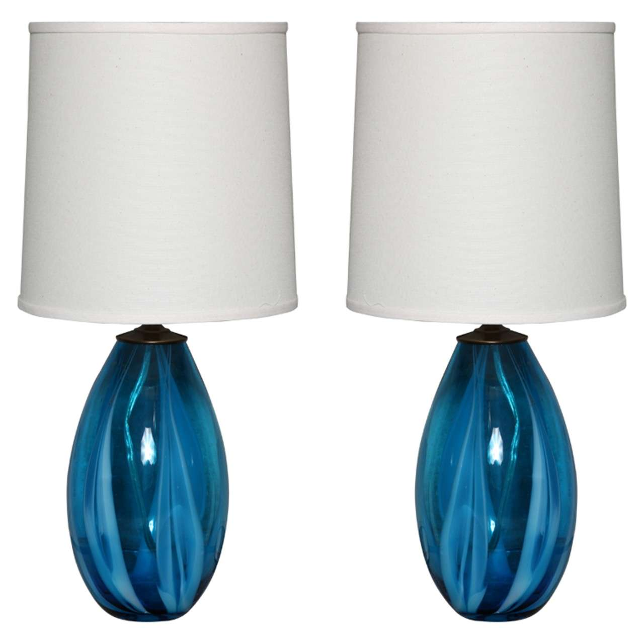 pair of blue murano glass table lamps at 1stdibs. Black Bedroom Furniture Sets. Home Design Ideas