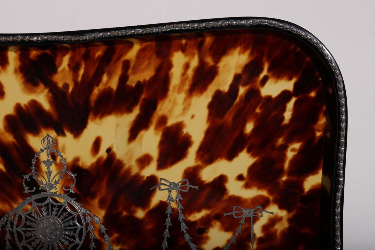British William Comyns English Art Deco Faux Tortoiseshell and Silver Tray For Sale