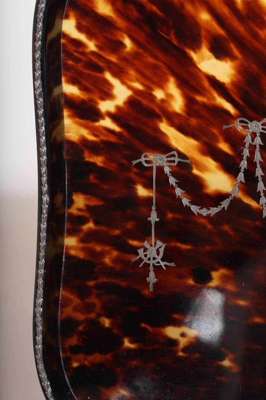 20th Century William Comyns English Art Deco Faux Tortoiseshell and Silver Tray For Sale