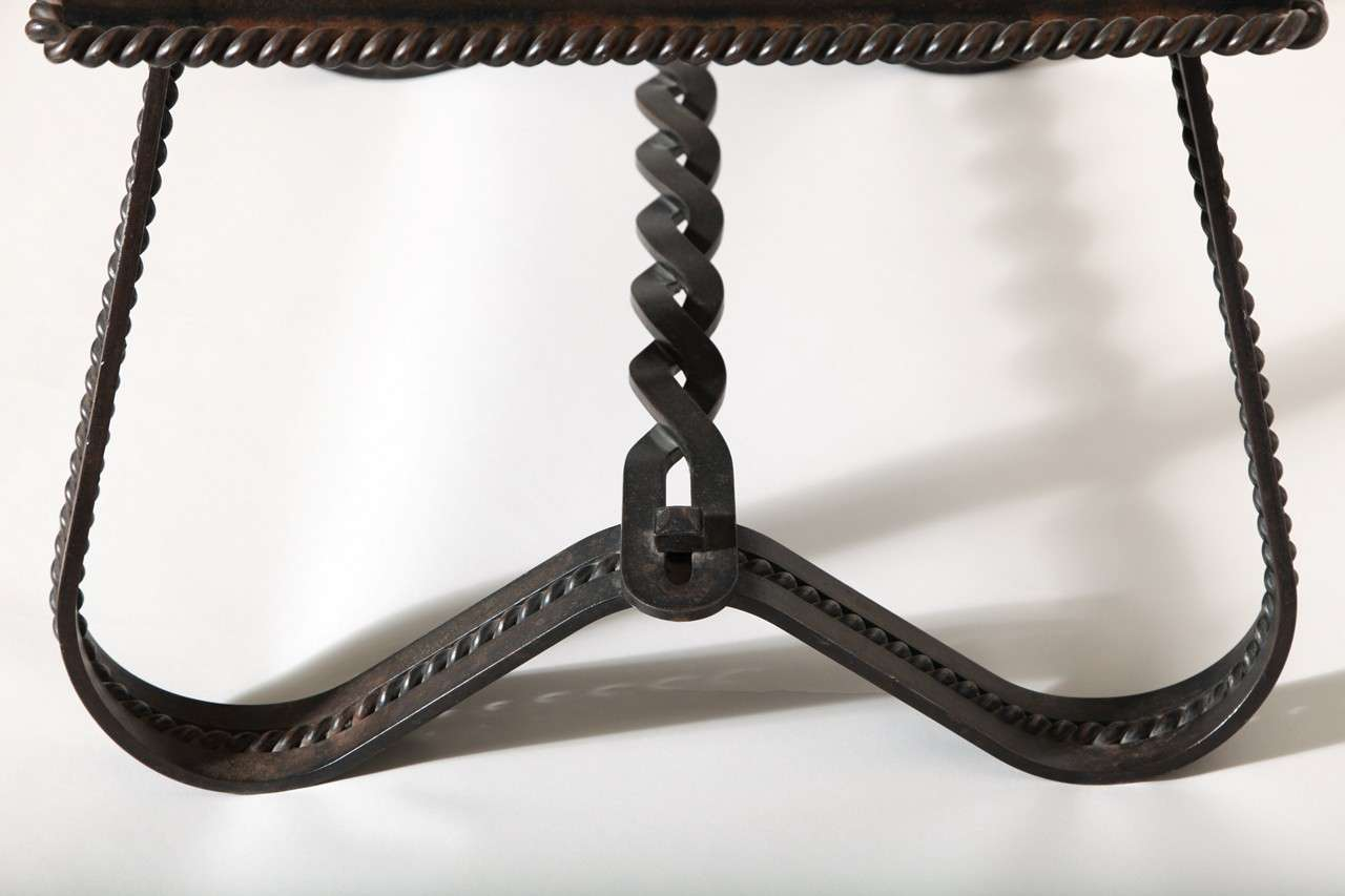 French Art Deco Wrought-Iron and Slate Coffee Table 6