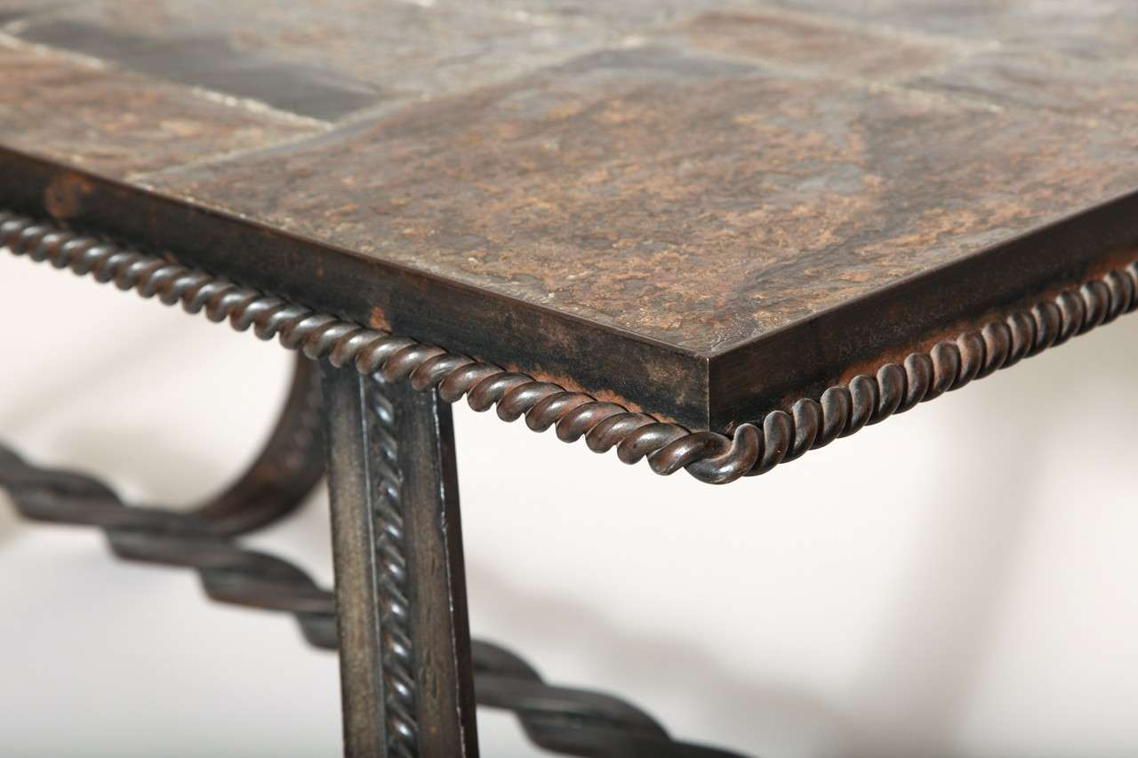 French Art Deco Wrought-Iron and Slate Coffee Table 8