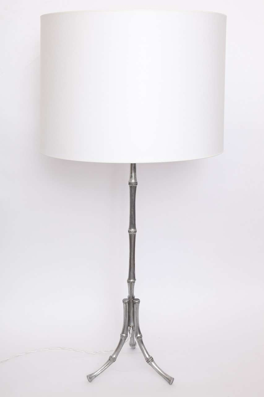 Table Lamps Pair Art Moderne bamboo design polished metal 1940's New sockets and rewired Shades not included