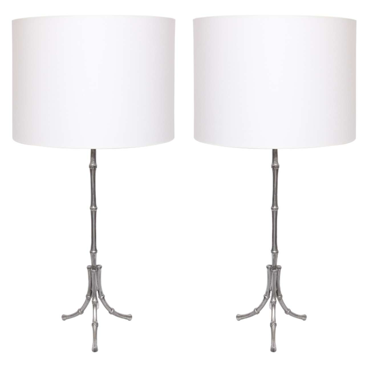 Pair of 1940s French Art Moderne Polished Metal Table Lamps