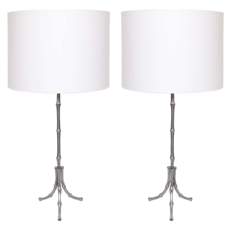 Table Lamps Pair Art Moderne bamboo design polished metal 1940's For Sale