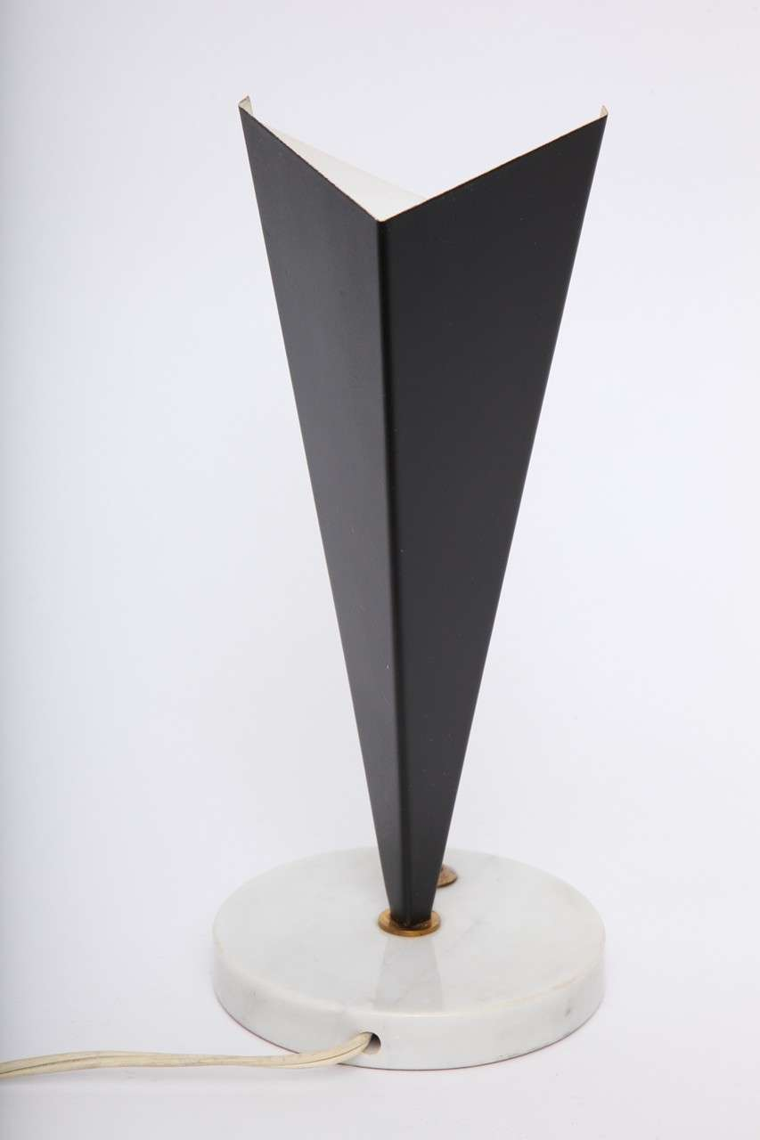 Stilux Table Lamps Pair Mid-Century Modern Metal Marble Perspex, Italian, 1950s For Sale 1