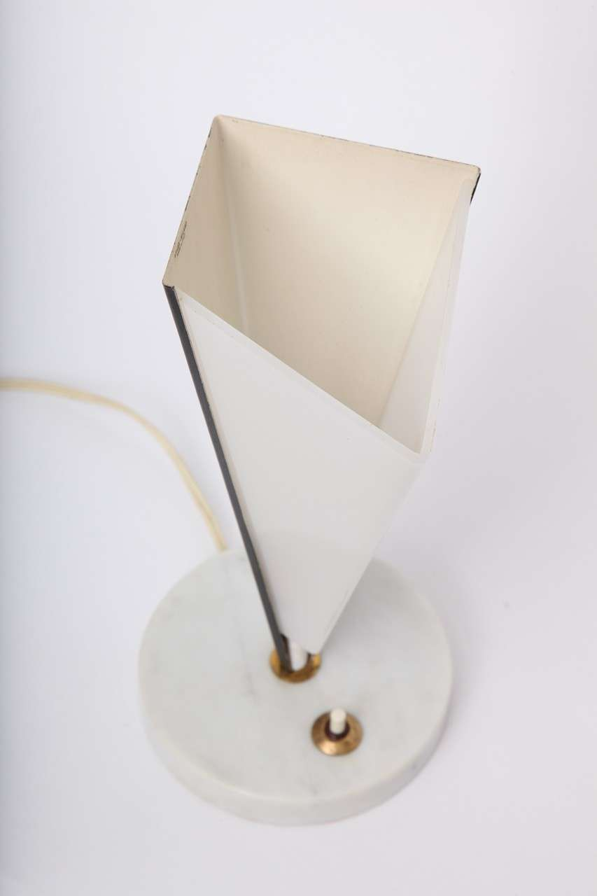 Stilux Table Lamps Pair Mid-Century Modern Metal Marble Perspex, Italian, 1950s For Sale 2