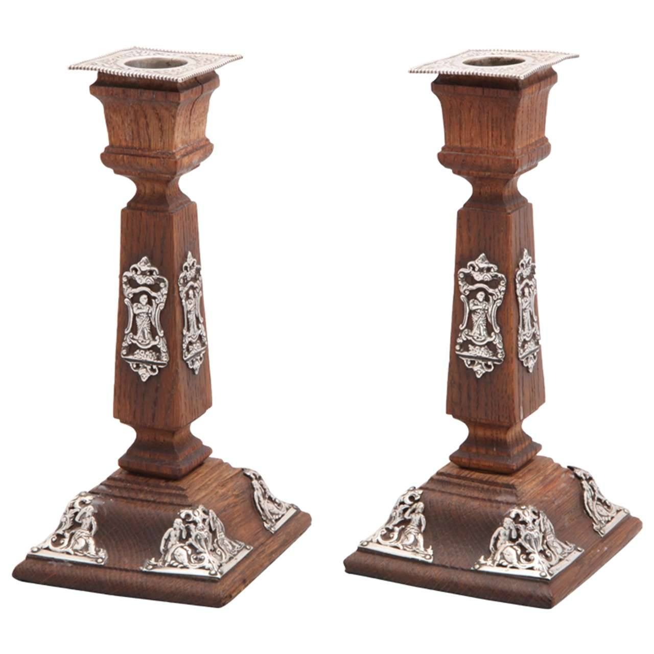 Victorian Sterling Silver-Mounted Oak Candlesticks