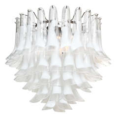 Elegant Mazzega Style White Feather Murano Chandelier