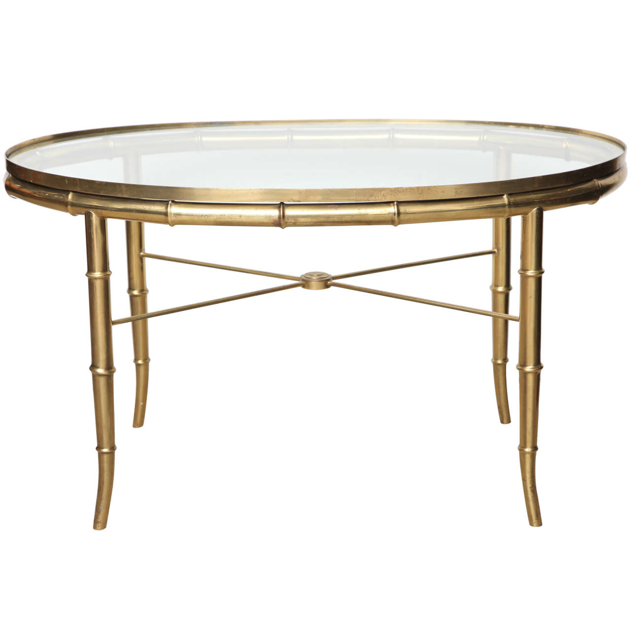 Faux Bamboo Brass Oval Cocktail Table For Sale At 1stdibs