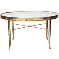 Faux Bamboo Brass Oval Cocktail Table