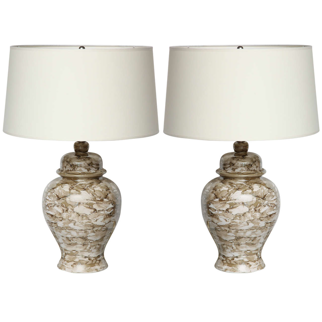 Pair Of Ginger Jar Lamps For Sale
