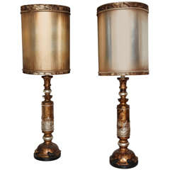 Monumental Pair of James Mont Table Lamps with Original Shades