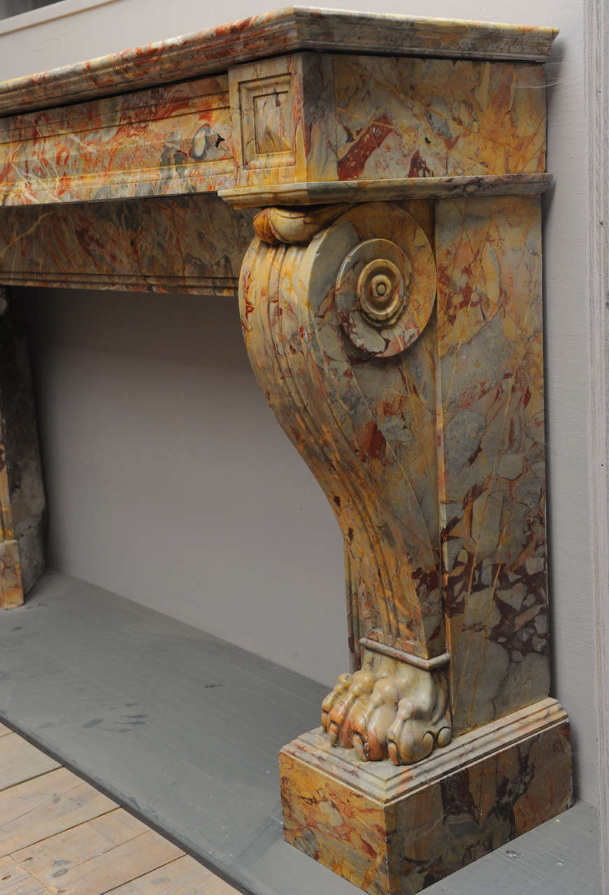 A 19th c french empire sarrancolin marble fireplace mantel piece circa 1820 for sale at 1stdibs - Fireplace mantel piece ...
