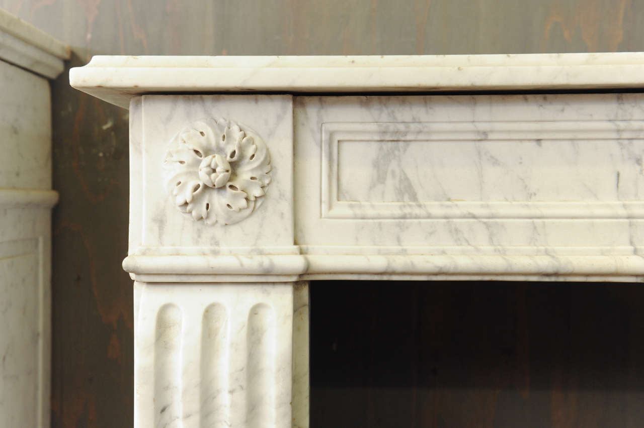A 19th c french louis xvi style carrara marble fireplace mantel piece for sale at 1stdibs - Fireplace mantel piece ...