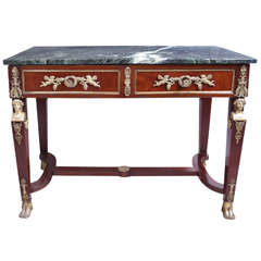 19th Century Napoleon III Empire Marble Top Console