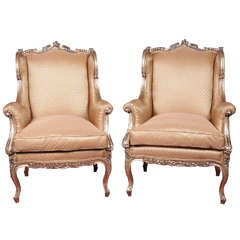 19th c French Louis XV gilded bergeres