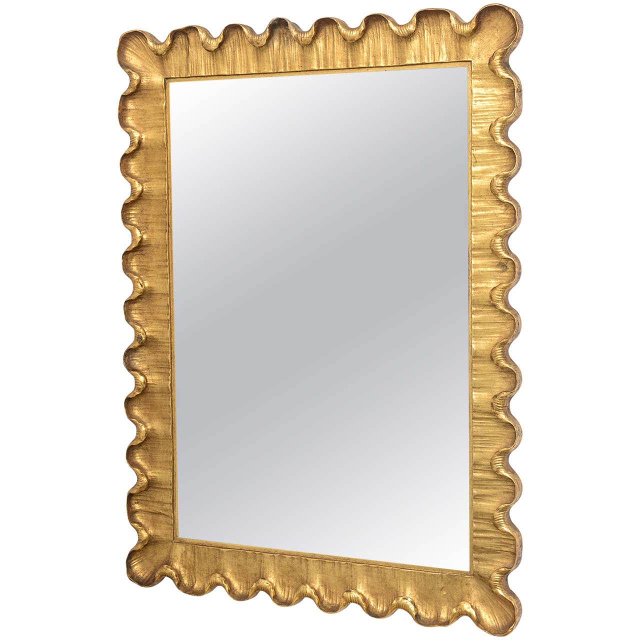 Hollywood regency style mirror gilt wood frame italian for Mirror frame styles